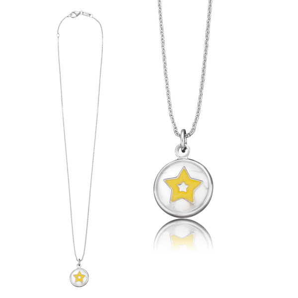 Herzengel necklace with glass lens star