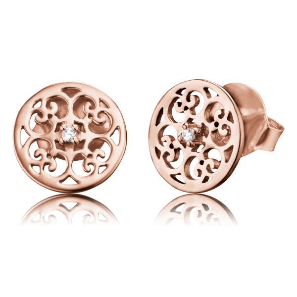 Engelsrufer ear studs ornament rose plated