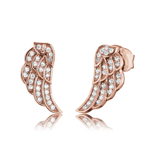 Engelsrufer ear studs wing zirconia rose plated