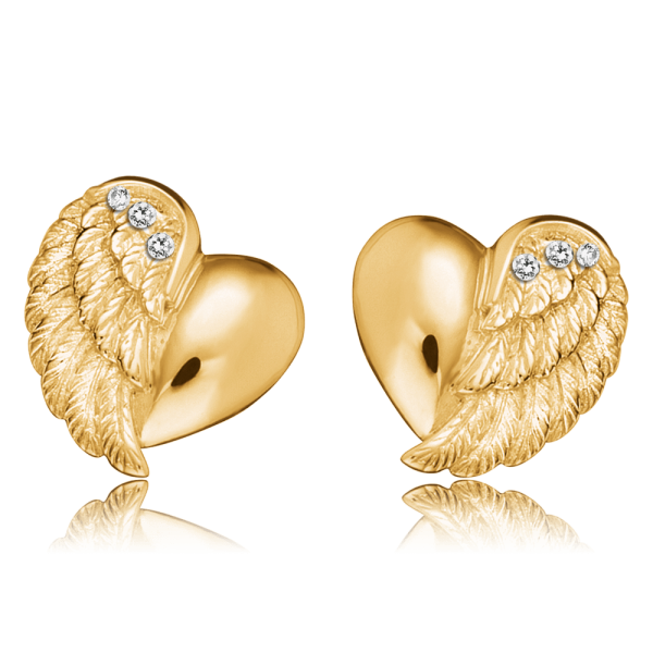 Engelsrufer ear studs heart wing gold plated