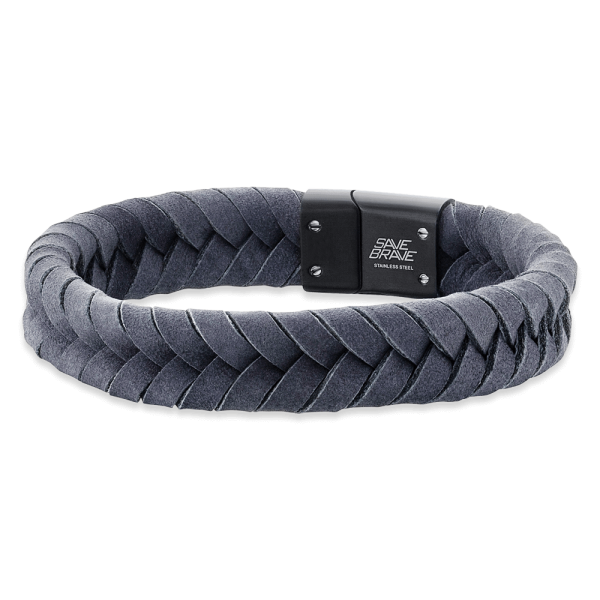 Save Brave leather bracelet Ryan grey