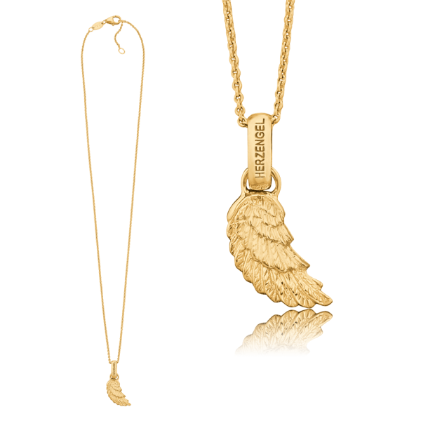 Herzengel necklace with wing real gold