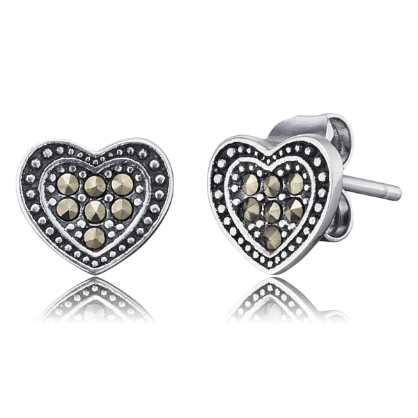 Engelsrufer ear studs hearts markasite
