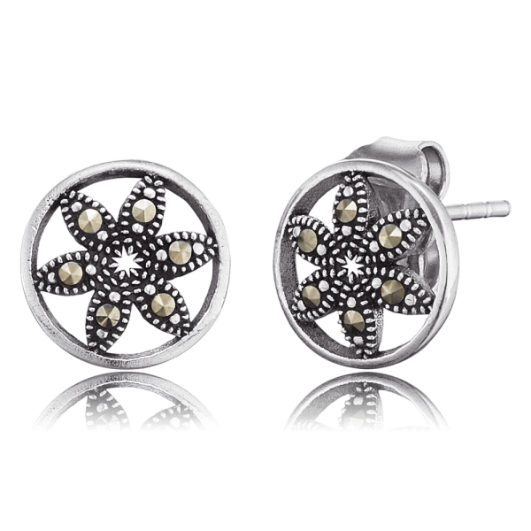 Engelsrufer ear studs flower of life markasite