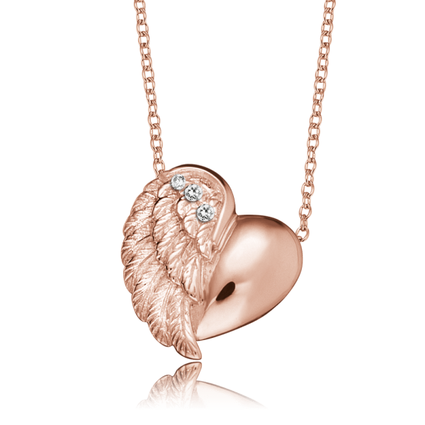 Engelsrufer necklace heart wing rose plated