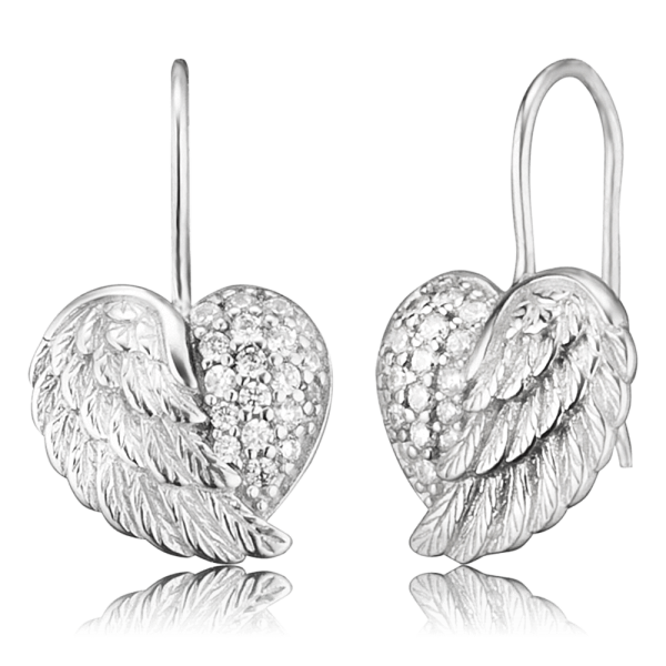 Engelsrufer earrings heart wing zirconia