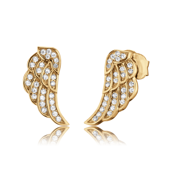 Engelsrufer ear studs wing zirconia gold plated